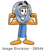 #28044 Clip Art Graphic Of A Blue Handled Magnifying Glass Cartoon Character Flexing His Arm Muscles