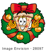 #28097 Clip Art Graphic Of A Cheese Pizza Slice Cartoon Character In The Center Of A Christmas Wreath
