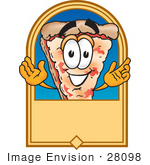#28098 Clip Art Graphic Of A Cheese Pizza Slice Cartoon Character On A Blank Tan Label