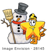 #28145 Clip Art Graphic Of A Yellow Star Cartoon Character With A Snowman On Christmas