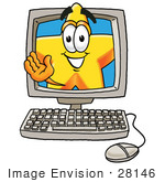 #28146 Clip Art Graphic Of A Yellow Star Cartoon Character Waving From Inside A Computer Screen