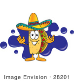 #28201 Clip Art Graphic Of A Crunchy Hard Taco Character Wearing A Sombrero And Standing In Front Of A Blue Paint Splatter On A Logo