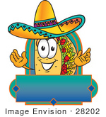 #28202 Clip Art Graphic Of A Crunchy Hard Taco Character Wearing A Sombrero On A Blank Label