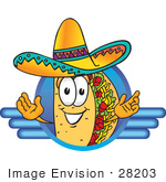 #28203 Clip Art Graphic Of A Crunchy Hard Taco Character Wearing A Sombrero On A Blue Logo