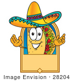 #28204 Clip Art Graphic Of A Crunchy Hard Taco Character Wearing A Sombrero On A Blank Tan Label