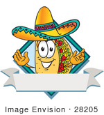 #28205 Clip Art Graphic Of A Crunchy Hard Taco Character Wearing A Sombrero On A Blank Label Logo With A White Banner And Blue Diamond