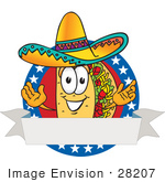 #28207 Clip Art Graphic Of A Crunchy Hard Taco Character Wearing A Sombrero Over A Blank White Banner With A Red Background And Stars Over Blue On A Logo