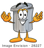 #28227 Clip Art Graphic Of A Metal Trash Can Cartoon Character With Open Arms