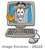 #28228 Clip Art Graphic Of A Metal Trash Can Cartoon Character Waving From Inside A Computer Screen
