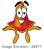 #28377 Clip Art Graphic Of A Construction Traffic Cone Cartoon Character Sitting