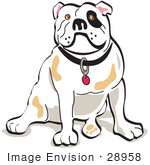 #28958 Cartoon Clip Art Graphic Of A Bulldog Sitting Clipart Illustration