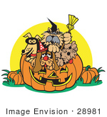 #28981 Cartoon Clip Art Graphic Of A Dogs Inside A Pumpkin On Halloween
