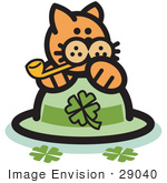 #29040 Royalty-Free Cartoon Clip Art Of An Orange Cat On A Clover St Patrick'S Day Hat Smoking A Pipe