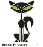 #29042 Royalty-Free Cartoon Clip Art Of A Black Siamese Cat With Big Green Eyes