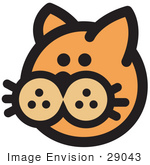 #29043 Royalty-Free Cartoon Clip Art Of A Cute Orange Cat'S Face