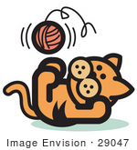 #29047 Royalty-Free Cartoon Clip Art Of A Cute Ginger Kitten Lying On His Back And Throwing A Ball Of Yarn Up In The Air While Playing