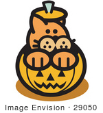 #29050 Royalty-Free Cartoon Clip Art Of An Orange Cat Inside A Halloween Pumpkin