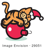 #29051 Royalty-Free Cartoon Clip Art Of An Orange Cat Wearing A Santa Hat And Lying On A Red Christmas Bauble Ornament