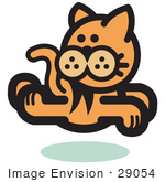 #29054 Royalty-Free Cartoon Clip Art Of An Orange Cat Running And Looking Back