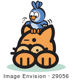 #29056 Royalty-Free Cartoon Clip Art Of A Brave Bluebird Sitting On An Orange Cat'S Head And Teasing Him