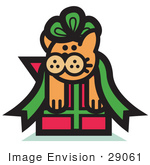#29061 Royalty-Free Cartoon Clip Art Of An Orange Cat Stuck In A Green Ribbon Bow On A Christmas Present