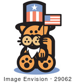 #29062 Royalty-Free Cartoon Clip Art Of An Orange Cat Wearing A Fake White Beard And An American Hat And Waving A Flag On Independence Day