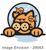 #29063 Royalty-Free Cartoon Clip Art Of A Grumpy Ginger Cat With Fish Making Fun Of Him In A Fishbowl Stuck On His Head