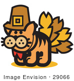 #29066 Royalty-Free Cartoon Clip Art Of A Ginger Cat Disguised As A Thanksgiving Turkey