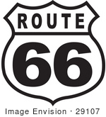 #29107 Royalty-Free Black And White Cartoon Clip Art Of A Route 66 Sign