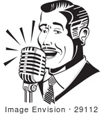 #29112 Royalty-Free Black And White Cartoon Clip Art Of A Man Singing Or Announcing Into A Microphone