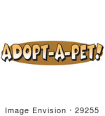 #29255 Royalty-Free Cartoon Clip Art Of An Internet Web Button Reading &Quot;Adopt-A-Pet!&Quot;