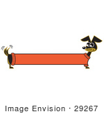 #29267 Royalty-Free Cartoon Clip Art Of A Long Stretched Dachshund Dog In An Orange Sweater Appearing To Be A Banner