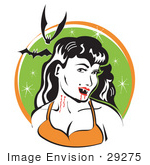 #29275 Royalty-Free Cartoon Clip Art Of A Pale Black Haired Female Vampire With Blood Dripping Off Of Her Fanges And Onto Her Chin Showing The Bite Marks On Her Neck While Two Bats Fly Above
