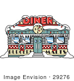 #29276 Royalty-Free Cartoon Clip Art Of A Retro Diner In Snow Decorated In Christmas Wreaths And Lights