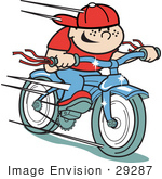 #29287 Royalty-Free Cartoon Clip Art Of A Happy Boy Riding A Brand New Blue Bike