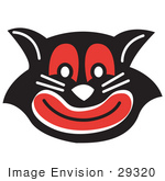 #29320 Royalty-Free Cartoon Clip Art Of An Evil Black Cat With Red Eyes And Mouth Grinning
