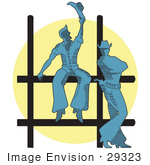 #29323 Royalty-Free Cartoon Clip Art Of Two Cowboys By A Fence At A Rodeo Silhouetted By A Bright Light