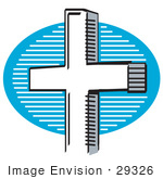 #29326 Royalty-Free Cartoon Clip Art Of A White Crucifix Cross