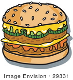 #29331 Royalty-Free Cartoon Clip Art Of A Tasty Double Cheeseburger With Two Meat Patties Pickles Ketchup And Melted Cheese On A Sesame Seed Bun