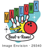 #29340 Royalty-Free Cartoon Clip Art Of A Red Bowling Ball Crashing Into Bowling Pins On A Vintage Marlows Bowl O Rama Sign