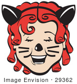 #29362 Royalty-Free Cartoon Clip Art Of A Pretty Red Curly Red Haired Girl Wearing A Headband With Cat Ears Her Nose Painted And Cheeks With Whiskers Laughing On Halloween
