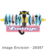 #29397 Royalty-Free Cartoon Clip Art Of A Slender Solid Black Cat Sitting In The Center Of Green Blue And Pink Diamonds On A Vintage Alley Cats Lounge Sign