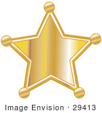 #29413 Royalty-Free Cartoon Clip Art Of A Golden Star Shaped Sheriff'S Badge