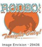 #29436 Royalty-Free Cartoon Clip Art Of A Brown Silhouette Of A Cowboy Riding A Bucking Bronco In A Rodeo