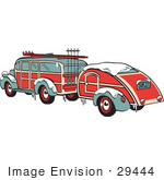 #29444 Royalty-Free Cartoon Clip Art Of A Green And Red Woody Car Hauling A Trailer And Carrying Skis And Poles On The Roof