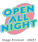 #29451 Royalty-Free Cartoon Clip Art Of A Vintage Open All Night Neon Sign