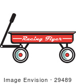 #29489 Royalty-Free Cartoon Clip Art Of A Red Pull Wagon
