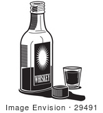 #29491 Royalty-Free Black And White Cartoon Clip Art Of A Bottle Of Whiskey By A Shot Glass In A Bar