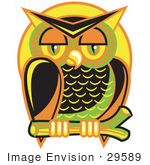 #29589 Royalty-Free Cartoon Clip Art Of A Wise And Colorful Owl Perched On A Branch At Night Against A Full Moon
