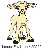 #29592 Royalty-Free Cartoon Clip Art Of A Sweet Baby Lamb